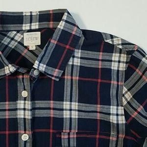J. Crew blue plaid button down shirt